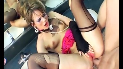 Glamour sex in thigh high stockings and gloves