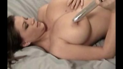 Busty amateur Sarah masturbates with dildo