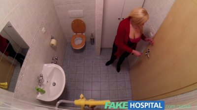FakeHospital Busty beautiful blonde soaks doctors examination table with he