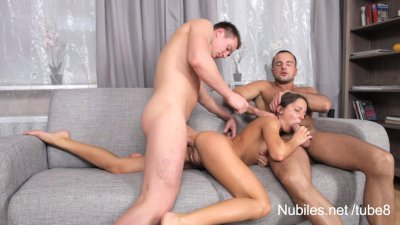 Anal spitroast for perky tit t