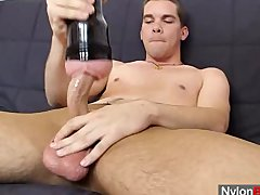 Thin twink strokes his hammer