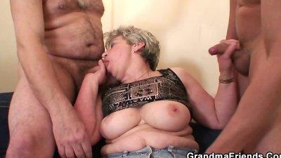 Granny takes two cocks after masturbation