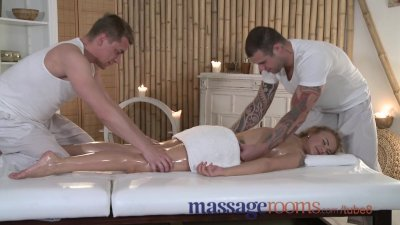 Massage Rooms Innocent blonde girl experiences two big cocks for first time