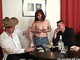 poker-playing granny gets fucked by two guysPorn Videos