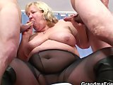 huge grandma pleases two young cocksPorn Videos