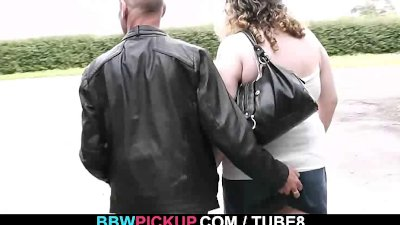 Curly fatty rides stranger's cock