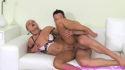 FemaleAgent. Sexy stud shoots his glorious goo over MILF agents tongue