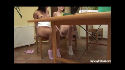Sexy lesbian teens Maggie and Sandra have fun