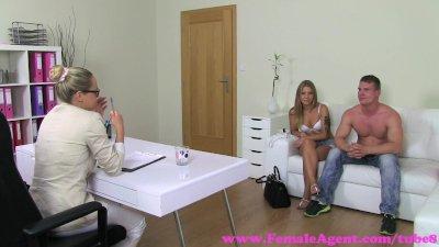 FemaleAgent. Horny MILF agent borrows sexy blondes boyfriend