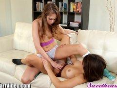 SweetHeart Riley Reid and Teen Lesbian Hairy Pussies Tribbing