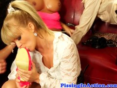 Crazy piss drinking party with hot babes