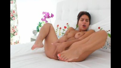 Russian Brunette Finger Fucked her Tight Pussy