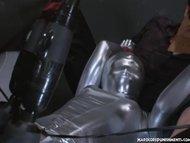 Six magic wand sex toys vibrating on one pussy