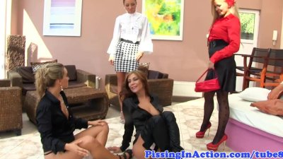Piss lovers join a hot lesbian couple
