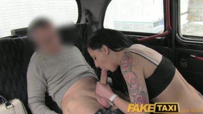FakeTaxi ebony haired tattooed young British women fucking on backseat