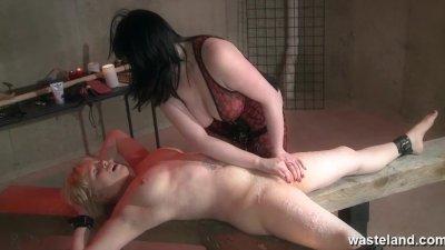 Lesbian hot wax treatment for female sex slave