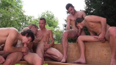 Five guys fuck bareback at WilliamHiggins Wank Party