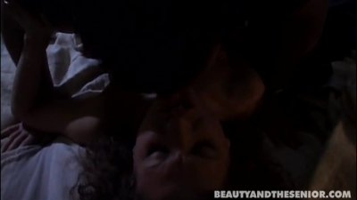 Curly haired teen Edwina suck and fuck an old cock