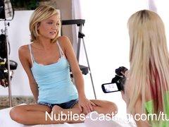 Cute blonde teen swaps cum with casting agent