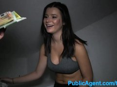 PublicAgent Pretty brunette led underground for sex with stranger
