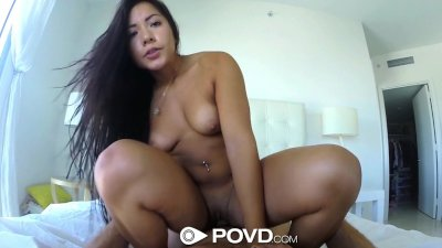 HD - POVD Teen Morgan Lee soaps up her pussy in the shower