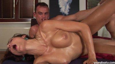 Young Jennifer gets big tits cummed