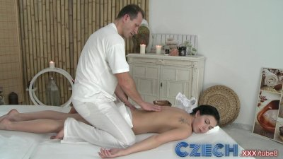 Czech Black haired hottie gets stretched by big cock