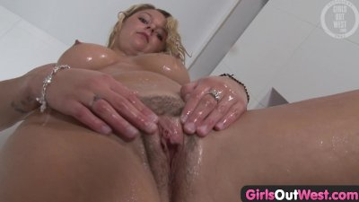 Girls Out West - Blonde amateur washes her hairy pussy