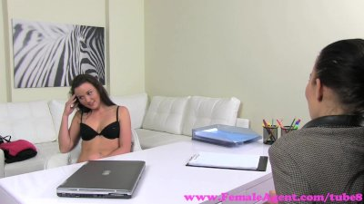 FemaleAgent. Desperate bisexual makes MILF cum with her tongue for work