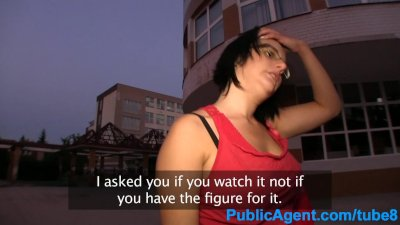 PublicAgent Guy fucks glasses girl doggy style in public
