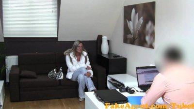 FakeAgent Blonde amateur swallows agents lies then his cum