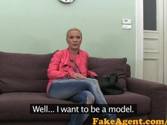 FakeAgent Blonde dance teacher takes big cock and frantic facial in Office