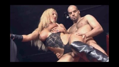 Busty blonde shemale Alison gets fucked anally