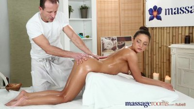 Massage Rooms Petite tanned Russian has her tiny hole filled with cock