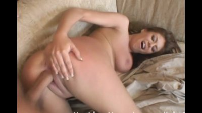 Brunette gets fucked on the couch