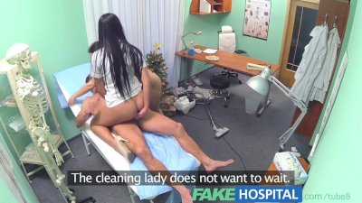 Fake Hospital Sexy nurse joins the doctor and the cleaner for an amazing th