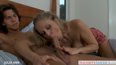 MILF in pink dress Julia Ann gets big tits fucked