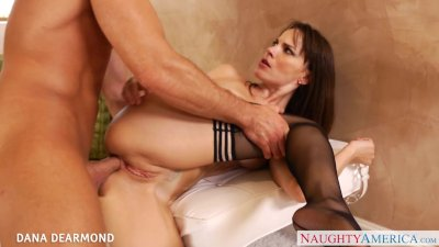 Brunette in red lingerie Dana Dearmond gets ass fucked