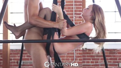 HD - FantasyHD Alexis Adams in black lingerie fucked on a sex swing