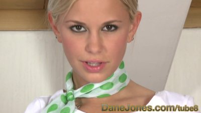 DaneJones Cute unifrom blonde playing with shaved pussy