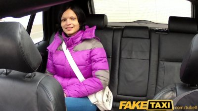 FakeTaxi ebony haired hottie let's cabbie cum on her tits