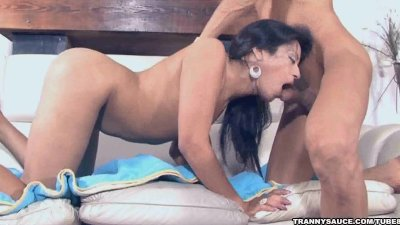 Shemale babe Violetta sucks cock and gets fucked hard
