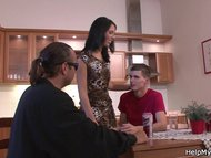 Husband friend bangs his hot brunette wife