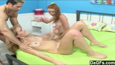 Hot threesome with teens next door