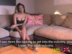 FakeAgentUK Amateur British ebony babe deep throats wide cock in casting