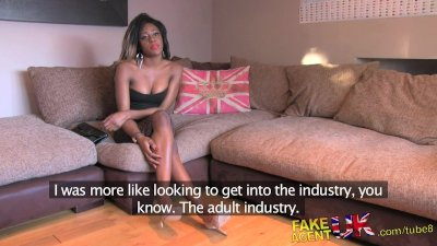 FakeAgentUK Amateur British ebony babe deep throats wide cock in casting