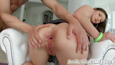 Ass Traffic Shy brunette takes it up the bum
