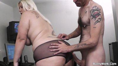 Boss fucks cute blonde plumper