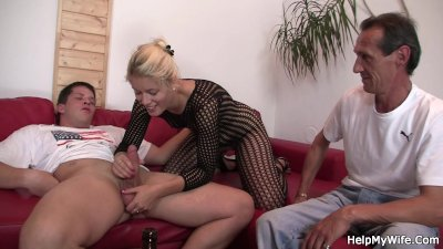 Old hubby watches his young blonde riding another dick