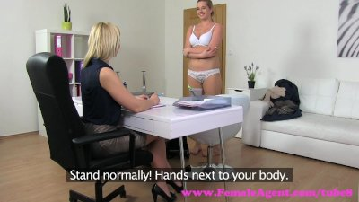 FemaleAgent. Natural busty curvy blonde enjoys first lesbian casting